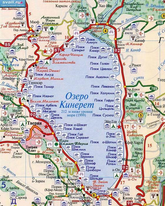 Карта озера Кинерет