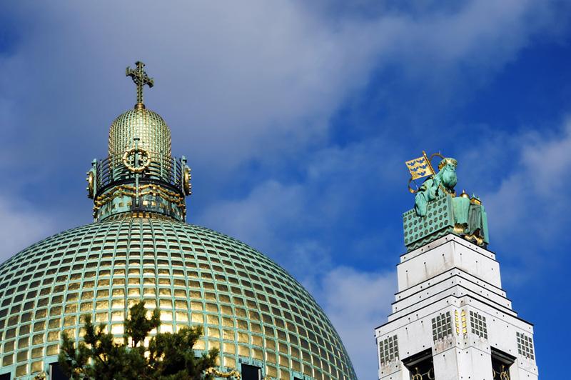 Kirche am Steinhof. Купол и Святой Леопольд.
