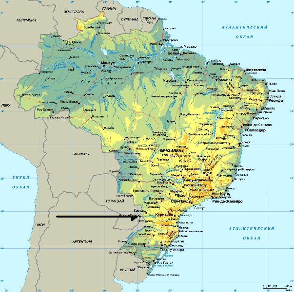 """Карта Бразилии и """"окрестностей"""""""