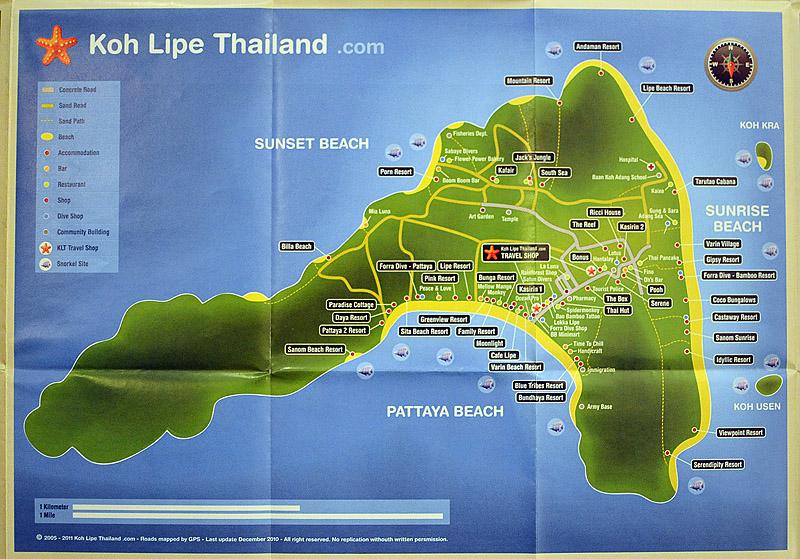 Карта острова Ко Липе. Ko Lipe. 3