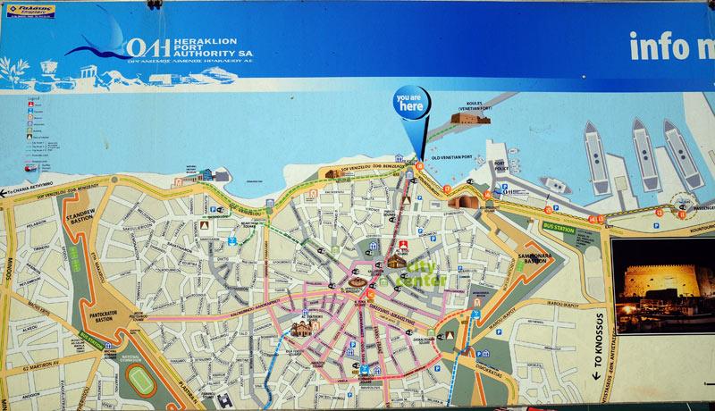 Ираклион. Карта центра города. 22