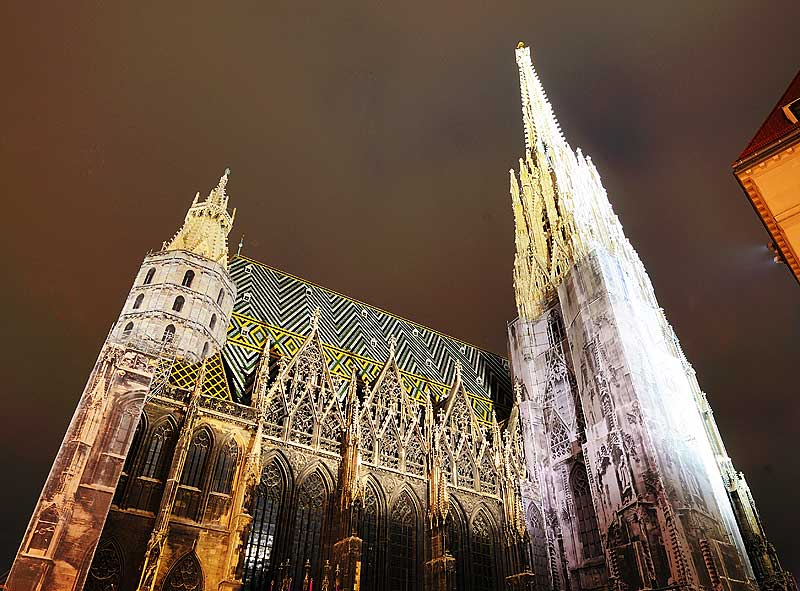 Вена. Собор Св. Стефана ночью. Vienna. Night Stefansdom. 27