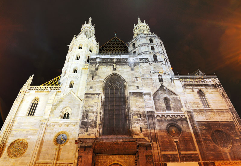 Вена. Собор Св. Стефана ночью. Vienna. Night Stefansdom. 32