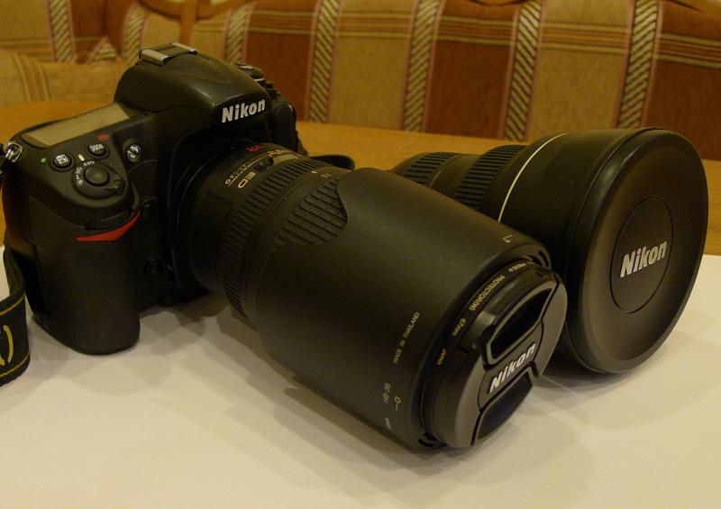 Nikon D300+70-300mm VR и Nikkor 14-24 f/2.8 рядом