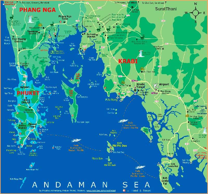 Пхукет и Таиланд. Карта.