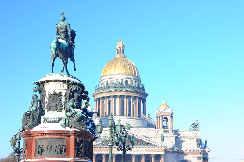 Санкт-Петербург. Исаакиевский собор с Николаем I. Saint-Petersburg. Isaakievskiy Sobor.