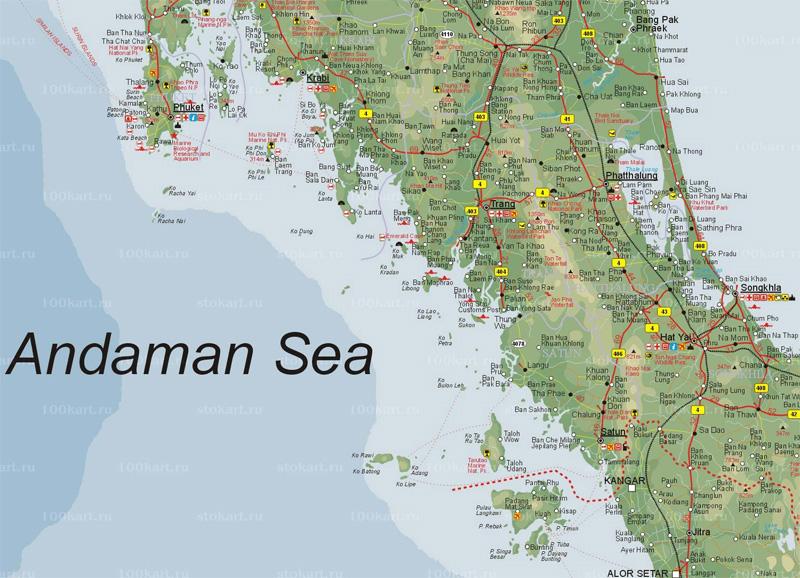 Карта южного Таиланда.