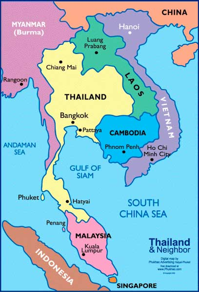 Пхукет и близлежащие страны. Карта.
