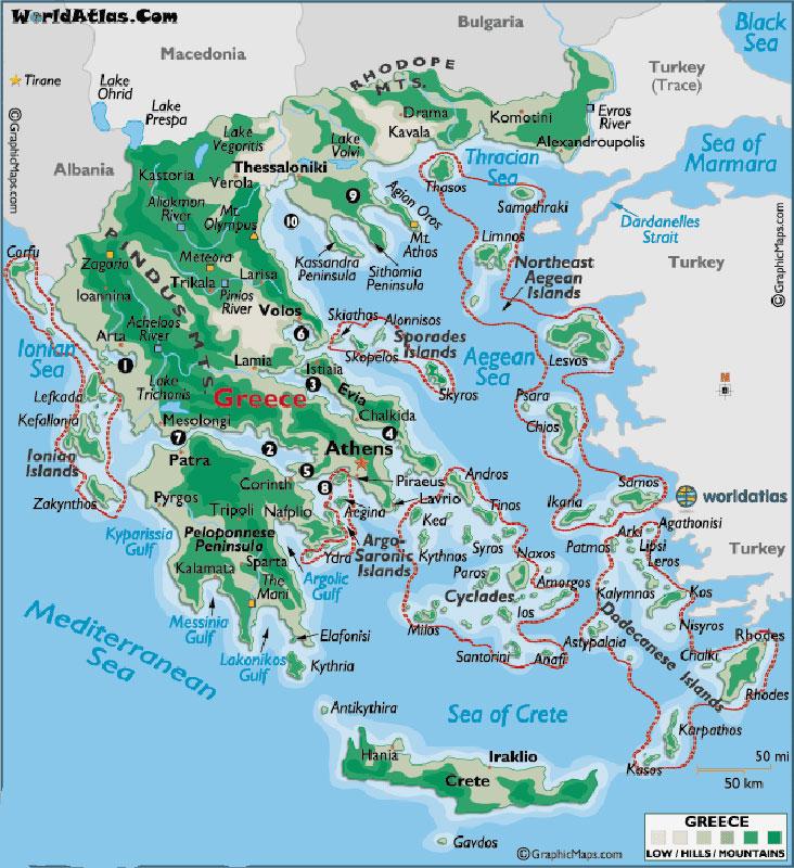 Греция. Санторини. Карта. 1